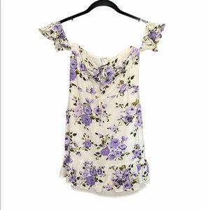 Off the Shoulder Purple Floral Dress